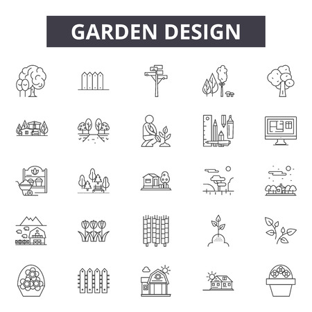 Garden design line icons for web and mobile. Editable stroke signs. Garden design  outline concept illustrations