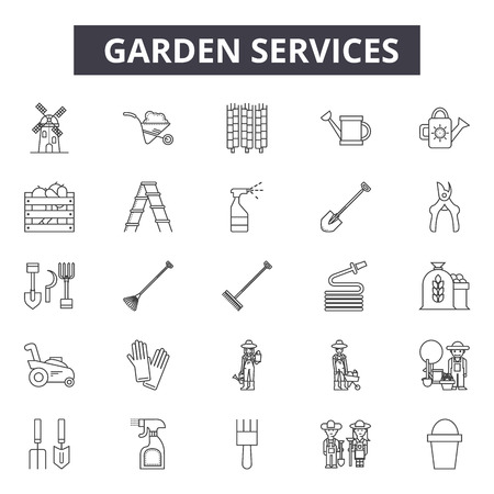 Garden services line icons for web and mobile. Editable stroke signs. Garden services  outline concept illustrations Illustration