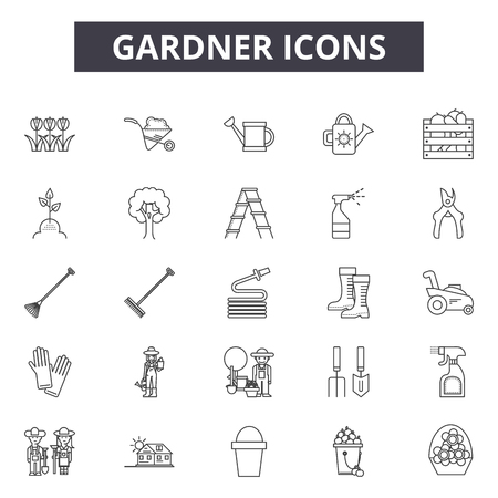 Gardner line icons for web and mobile. Editable stroke signs. Gardner  outline concept illustrations Çizim