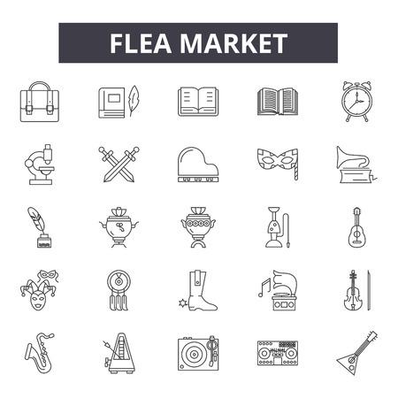 Iconos de línea de mercado de pulgas para web y móvil. Signos de trazo editables. Ilustraciones del concepto de esquema de mercado de pulgas