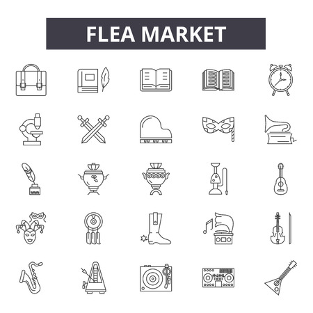 Flea market line icons for web and mobile. Editable stroke signs. Flea market  outline concept illustrations