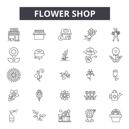 Flower shop line icons for web and mobile. Editable stroke signs. Flower shop  outline concept illustrations