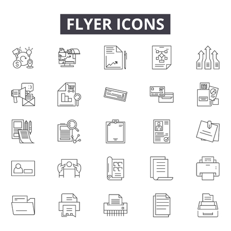 Flyer line icons for web and mobile. Editable stroke signs. Flyer  outline concept illustrations
