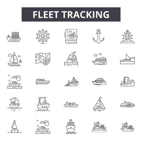 Fleet tracking line icons for web and mobile. Editable stroke signs. Fleet tracking  outline concept illustrations Stock Illustratie