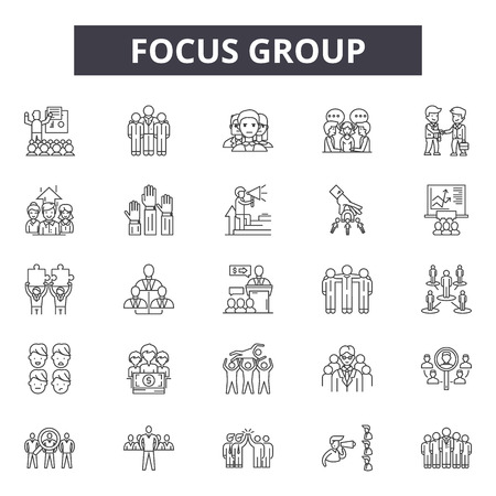 Focus group line icons for web and mobile. Editable stroke signs. Focus group  outline concept illustrations Çizim