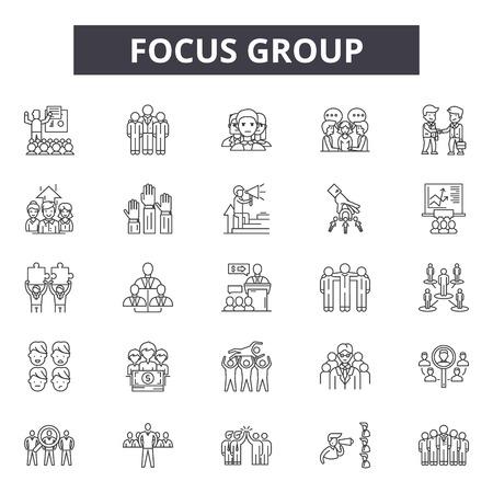 Focus group line icons for web and mobile. Editable stroke signs. Focus group  outline concept illustrations Ilustração