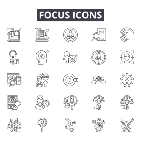 Focus line icons for web and mobile. Editable stroke signs. Focus  outline concept illustrations Banco de Imagens - 119388886
