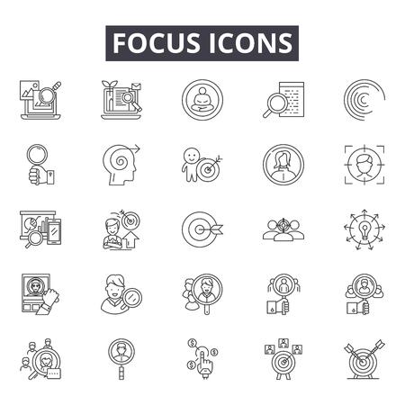 Iconos de líneas de enfoque para web y móvil. Signos de trazo editables. Ilustraciones del concepto de esquema de enfoque