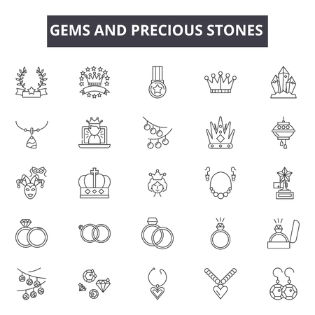 Gems and precious stones line icons for web and mobile. Editable stroke signs. Gems and precious stones  outline concept illustrations