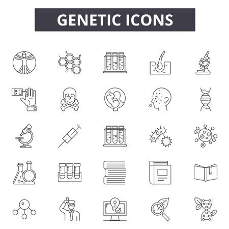 Iconos de línea genética para web y móvil. Signos de trazo editables. Ilustraciones del concepto de contorno genético Ilustración de vector