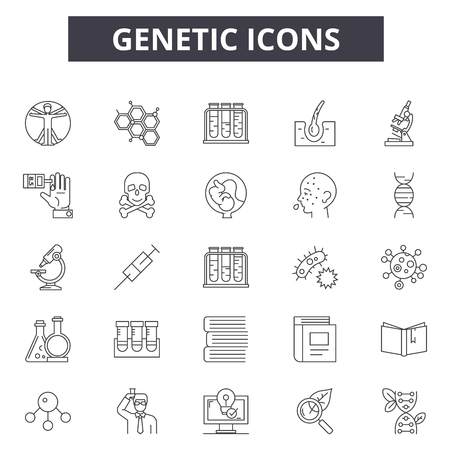 Genetic line icons for web and mobile. Editable stroke signs. Genetic  outline concept illustrations Illustration