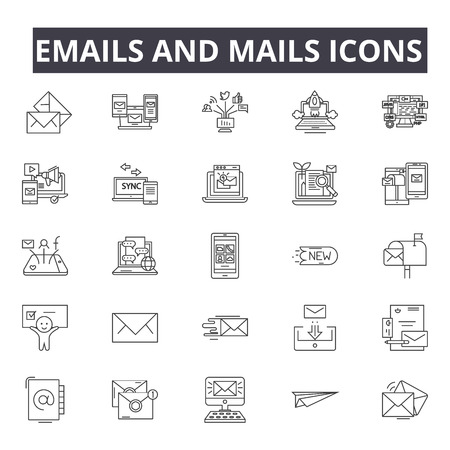 Emails and mails line icons for web and mobile. Editable stroke signs. Emails and mails outline concept illustrations