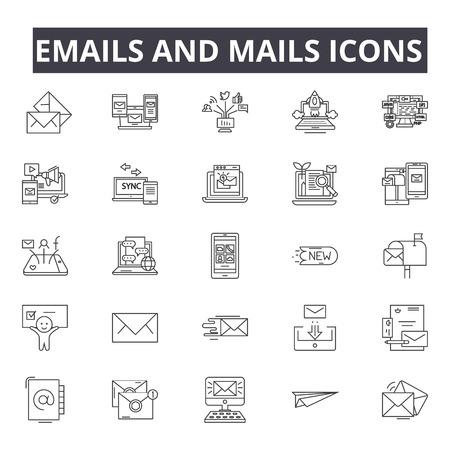 Icônes de ligne d'e-mails et de courriers pour le web et le mobile. Signes de course modifiables. Les e-mails et les courriers décrivent des illustrations de concept