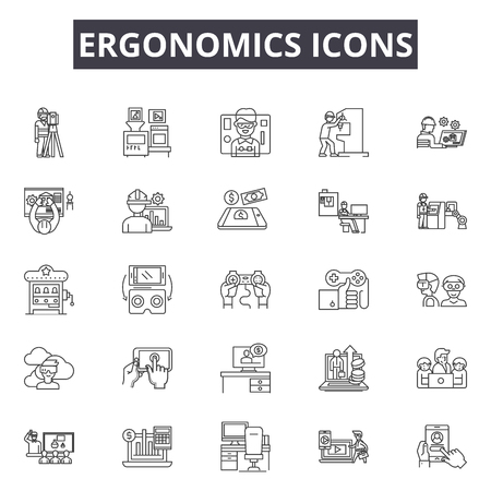 Ergonomics icons line icons for web and mobile. Editable stroke signs. Ergonomics icons  outline concept illustrations Imagens - 119388578