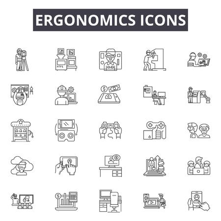 Ergonomie-Symbole zeichnen Symbole für Web und Mobile. Bearbeitbare Strichzeichen. Ergonomie-Symbole skizzieren Konzeptillustrationen