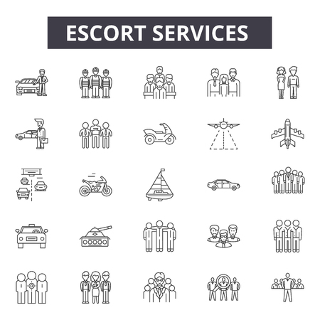 Escort services line icons for web and mobile. Editable stroke signs. Escort services  outline concept illustrations