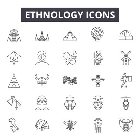 Ethnology line icons for web and mobile. Editable stroke signs. Ethnology  outline concept illustrations Imagens - 119388581