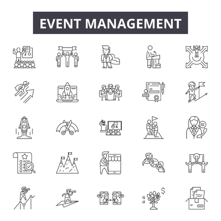 Event management line icons for web and mobile. Editable stroke signs. Event management  outline concept illustrations