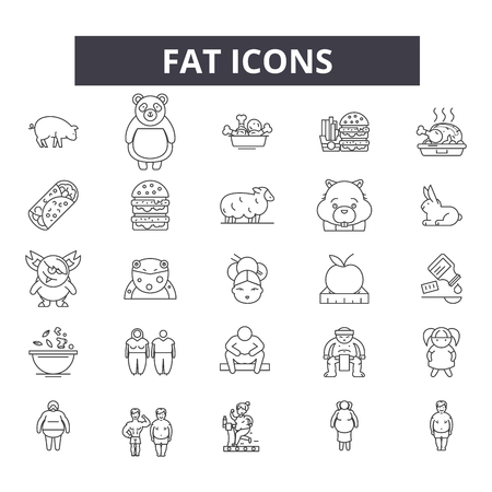 Fat line icons for web and mobile. Editable stroke signs. Fat  outline concept illustrations Illustration