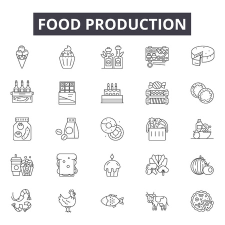 Food production line icons for web and mobile. Editable stroke signs. Food production  outline concept illustrations Çizim