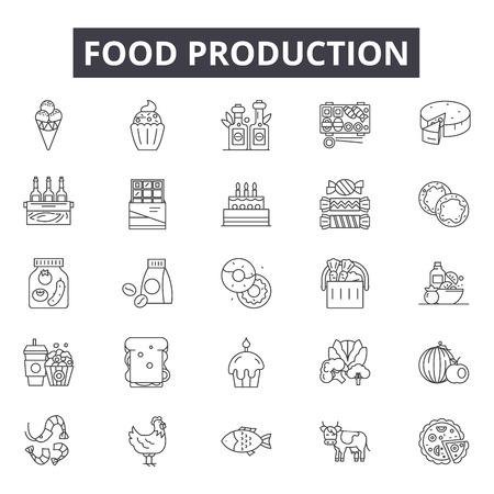 Iconos de línea de producción de alimentos para web y móvil. Signos de trazo editables. Ilustraciones del concepto de esquema de producción de alimentos Ilustración de vector