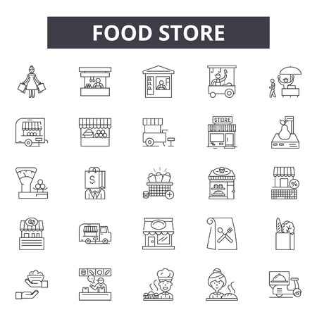 Food store line icons for web and mobile. Editable stroke signs. Food store  outline concept illustrations Illustration