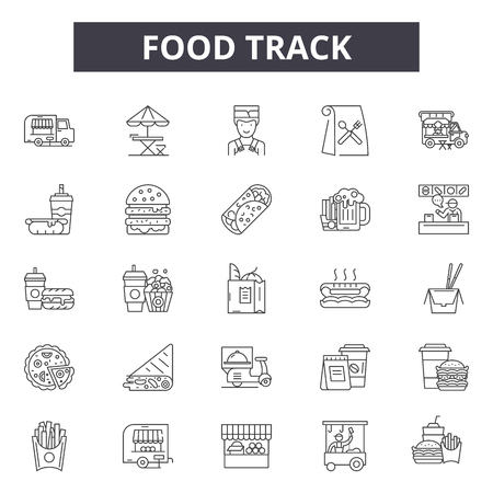 Food track line icons for web and mobile. Editable stroke signs. Food track  outline concept illustrations