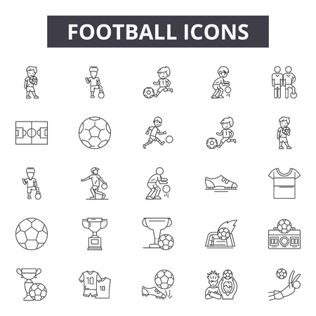 Football line icons for web and mobile. Editable stroke signs. Football  outline concept illustrations Illustration