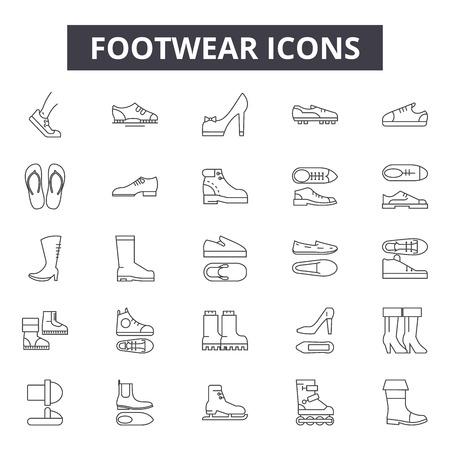 Footwear line icons for web and mobile. Editable stroke signs. Footwear  outline concept illustrations Standard-Bild - 119388592