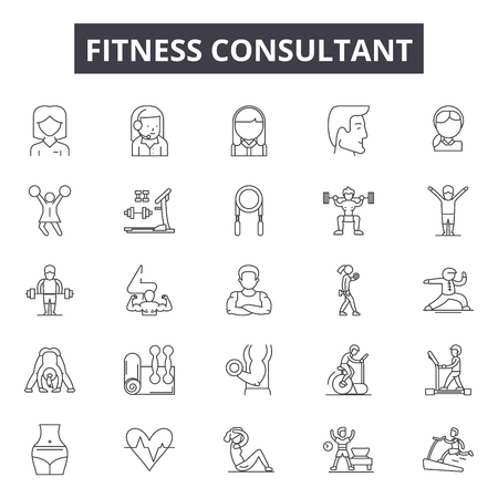 Fitness consultant line icons for web and mobile. Editable stroke signs. Fitness consultant  outline concept illustrations Illusztráció