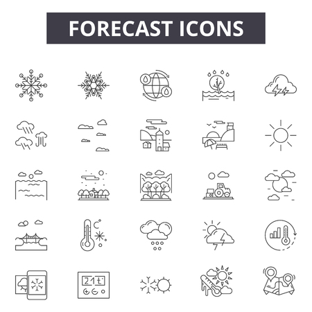 Forecast line icons for web and mobile. Editable stroke signs. Forecast  outline concept illustrations