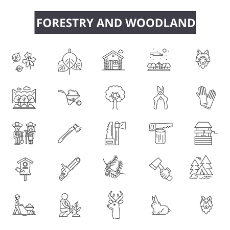 Forestry and woodland line icons for web and mobile. Editable stroke signs. Forestry and woodland  outline concept illustrations Illustration