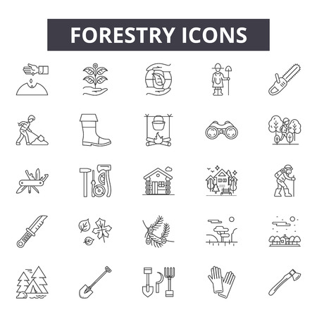 Forestry line icons for web and mobile. Editable stroke signs. Forestry  outline concept illustrations