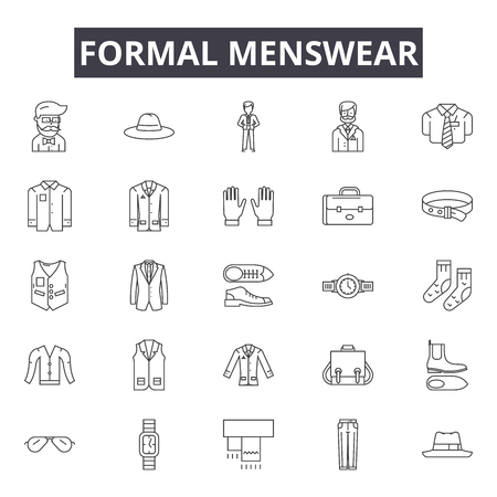 Formal menswear line icons for web and mobile. Editable stroke signs. Formal menswear  outline concept illustrations