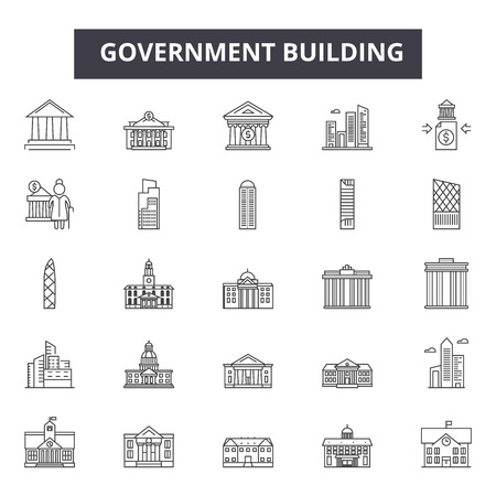 Government building line icons for web and mobile. Editable stroke signs. Government building  outline concept illustrations