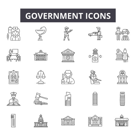 Government line icons for web and mobile. Editable stroke signs. Government  outline concept illustrations Иллюстрация