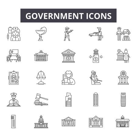 Iconos de línea de gobierno para web y móvil. Signos de trazo editables. Ilustraciones del concepto de esquema de gobierno Ilustración de vector