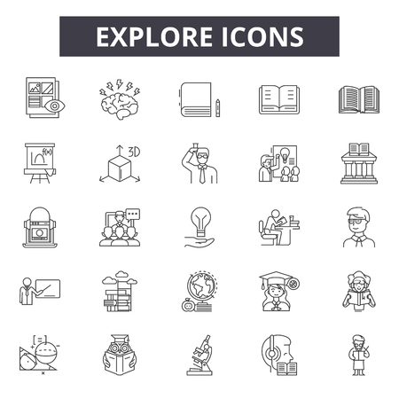 Explore line icons for web and mobile design. Editable stroke signs. Explore outline concept illustrations Reklamní fotografie - 124312836