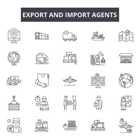 Esporta e importa le icone della linea degli agenti per web e mobile. Segni di tratto modificabili. Gli agenti di esportazione e importazione delineano le illustrazioni concettuali Vettoriali