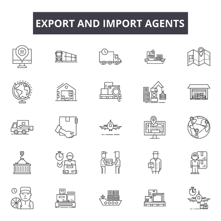 Export and import agents line icons for web and mobile. Editable stroke signs. Export and import agents  outline concept illustrations Illustration