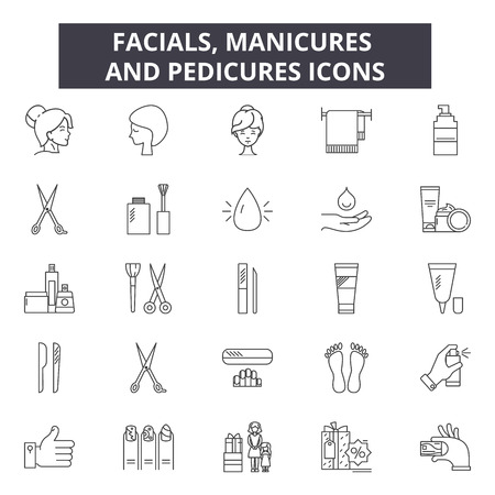 Facials, manicures and pedicures line icons for web and mobile. Editable stroke signs. Facials, manicures and pedicures outline concept illustrations Vector Illustration