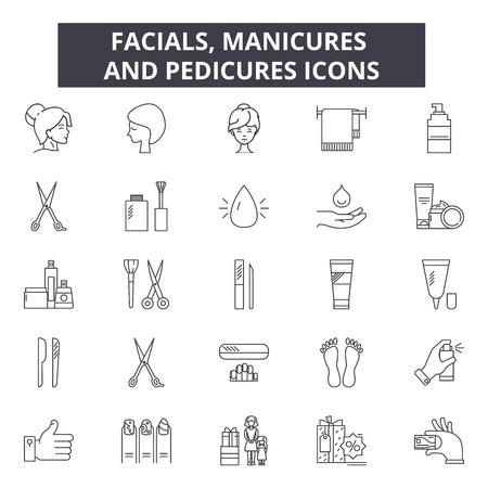 Iconos de línea de tratamientos faciales, manicuras y pedicuras para web y móvil. Signos de trazo editables. Faciales, manicuras y pedicuras describen las ilustraciones del concepto Ilustración de vector