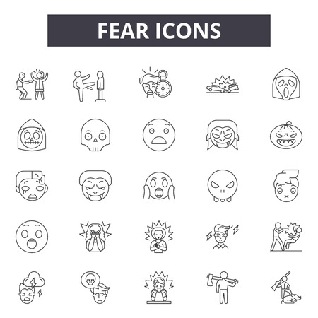 Fear line icons for web and mobile. Editable stroke signs. Fear  outline concept illustrations Ilustração