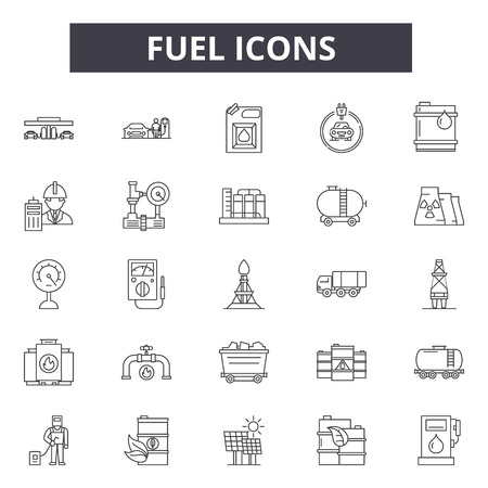 Fuel icons line icons for web and mobile. Editable stroke signs. Fuel icons  outline concept illustrations Illustration