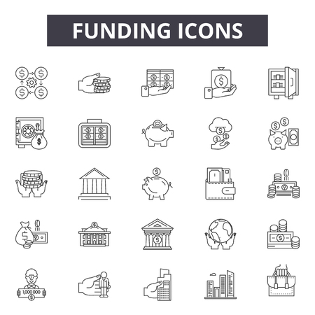 Funding line icons for web and mobile. Editable stroke signs. Funding outline concept illustrations