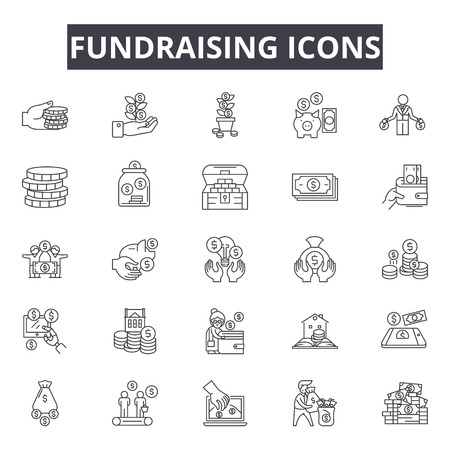Fundraising line icons for web and mobile. Editable stroke signs. Fundraising  outline concept illustrations Illustration