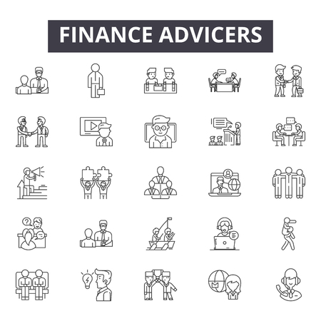 Finance advicers line icons for web and mobile. Editable stroke signs. Finance advicers  outline concept illustrations
