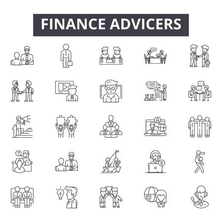 Icônes de ligne de conseillers financiers pour le web et le mobile. Signes de course modifiables. Les conseillers financiers décrivent des illustrations de concept Vecteurs