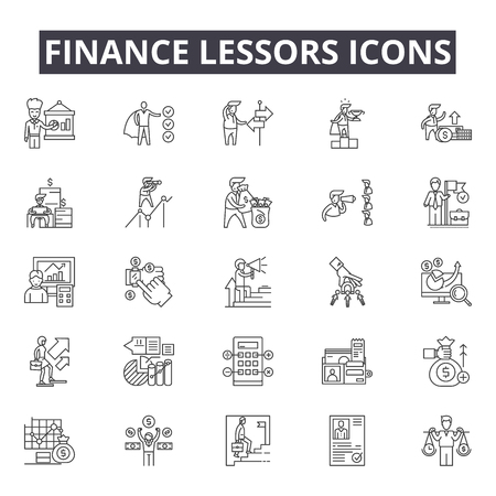 Finance lessors line icons for web and mobile. Editable stroke signs. Finance lessors  outline concept illustrations Stock Illustratie