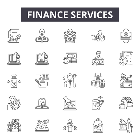Finance services line icons for web and mobile. Editable stroke signs. Finance services  outline concept illustrations
